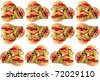 Abstract background of three hamburger with vegetables. - stock photo