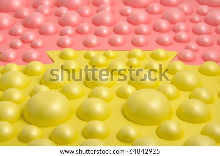 Abstract background of yellow and red balls, two parts