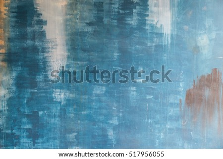 Abstract background old blue paint cement wall