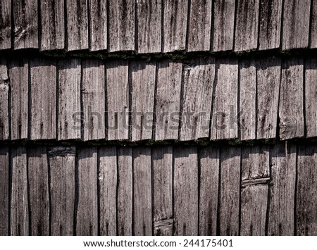 abstract background or texture detail of an old wooden roof - stock photo