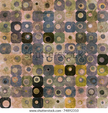 Abstract background or texture with squares and circles in blue and purple tones - stock photo