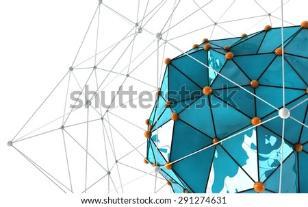 Abstract background. Orange connecting dots with space for text. - stock photo