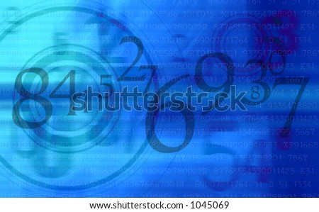 Abstract background pattern of blue superimposed numbers - stock photo