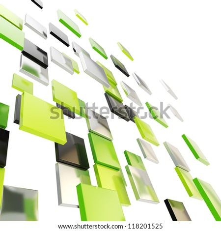 Abstract background perspective backdrop made of glossy green, black and chrome metal square plates - stock photo