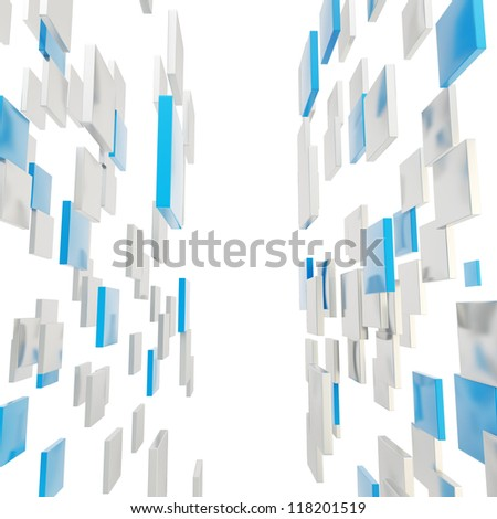 Abstract background perspective copyspace backdrop made of glossy blue and silver square plates over white - stock photo