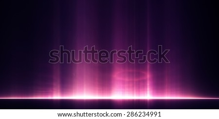 Abstract background: pillars of light rising above a distant horizon - stock photo