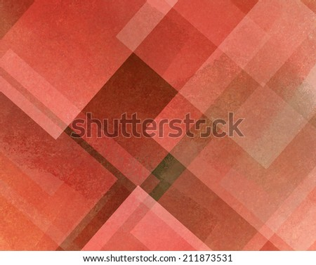 abstract background red and white square and diamond shaped transparent layers in diagonal pattern background - stock photo