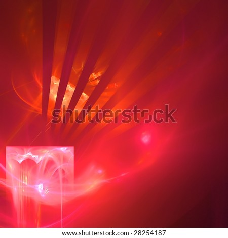 Abstract background. Red - orange palette. Raster fractal graphics.
