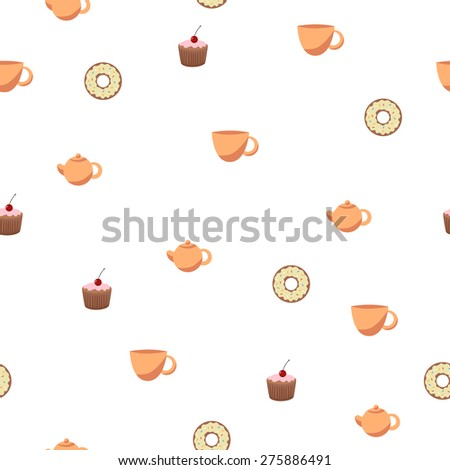 Abstract background seamless donut tea cup cake teapot - stock photo