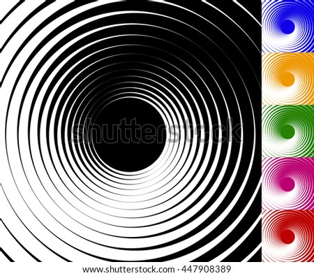 Abstract background set with concentric rotating contour lines. Set of 6 colors - stock photo