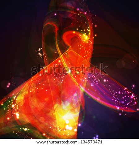 Abstract background, shiny space, futuristic wave illustration - stock photo