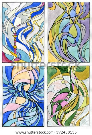 abstract background sketch for stained glass window - stock photo