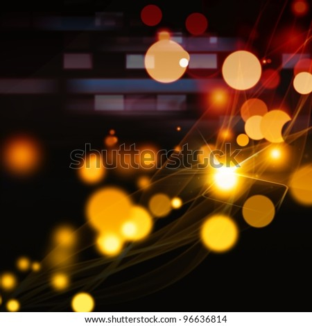 Abstract background - smooth curves like smoke, orange circles, bright lights