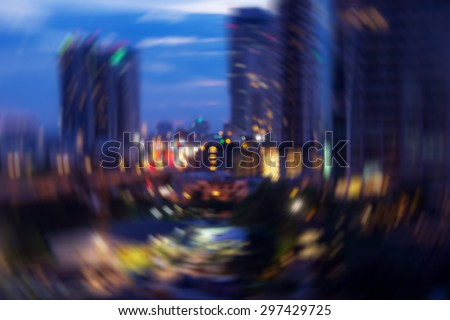 Abstract background spin cityscape - Swirling Blur pattern of colorful city town lights
