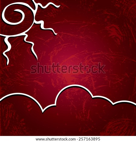abstract background. Sun on a shabby burgundy background - stock photo