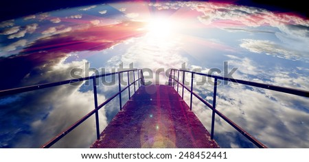 Abstract background,sunset and Gateway or small bridge.Travel concept - stock photo