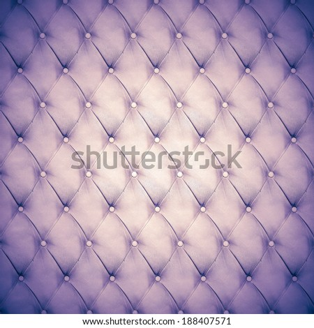 Abstract background texture of an old natural luxury, modern style leather with rhombs Classic white, violet and purple gray grungy skin of retro wall, door, sofa or studio interior with metal buttons - stock photo