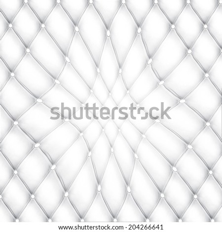 Abstract background texture of bent used nature luxury modern style leather with rhombs Classic light white and dark gray grungy rich skin of retro wall, door, sofa, studio interior with metal buttons - stock photo