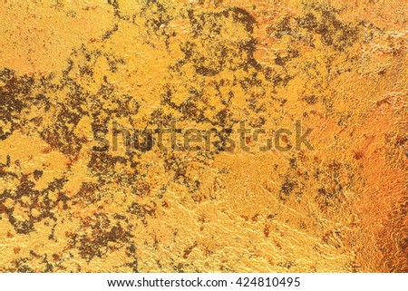 Abstract background texture of stone wall in orange yellow tone. Grunge wall. Cement wall for design with copy space for text or image. Dark edged - stock photo