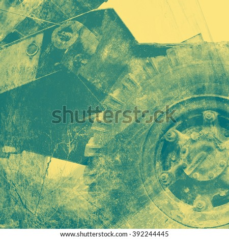 Abstract background - truck wheel and metal construction - stock photo