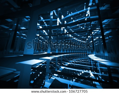 Abstract background: turning dark blue mirrored futuristic tunnel with lights and reflections. 3d render illustration. - stock photo