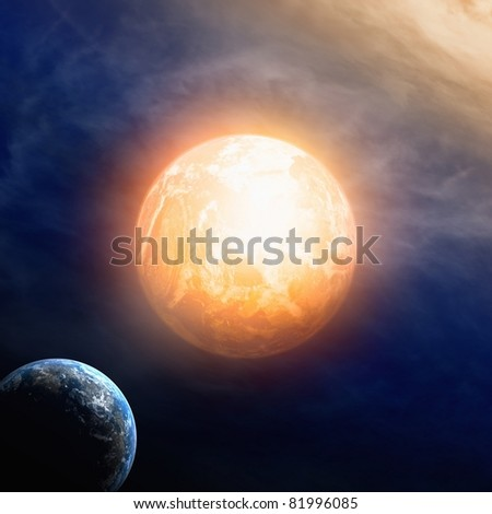 Abstract background - two planets in dark space - stock photo