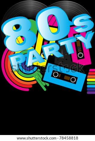 Abstract Background - Vintage Vinyl Records, Audio Tapes and 80s Party Sign - stock photo