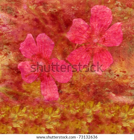 Abstract background, water color stains and lily flowers on a paper. Pink, red, orange, yellow - stock photo