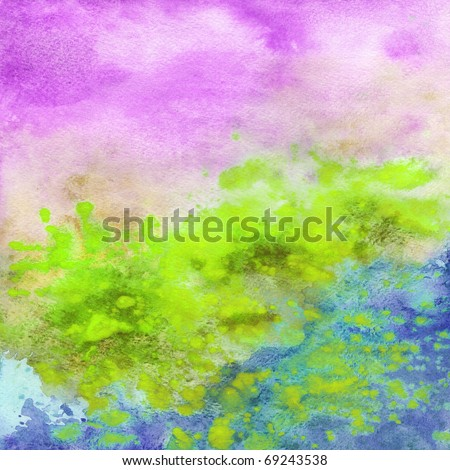 Abstract background, watercolor, hand painted on a paper. Green, violet, blue, yellow - stock photo