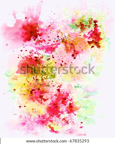 Abstract background, watercolor, hand painted on a paper. Pink, red, yellow, white - stock photo