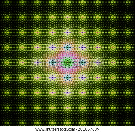 Abstract background with a detailed yellow-green glowing chain-like pattern made out of dots with links interconnected in rows and columns and with a bright center in pink, blue and purple colors