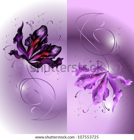 abstract background with a flower ornament. raster copy - stock photo