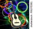 Abstract background with a guitar - stock photo