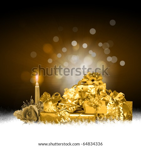 Abstract background with a New Year's gifts and candles. Happy New Year and Merry Christmas! - stock photo