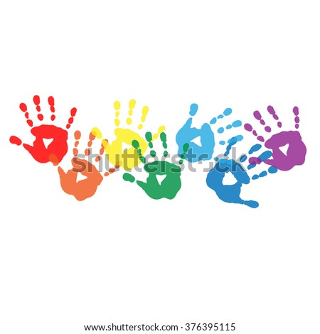 Abstract background with a rainbow colored handprints - stock photo