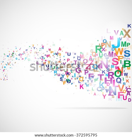 Abstract background with abc letters illustration - stock photo