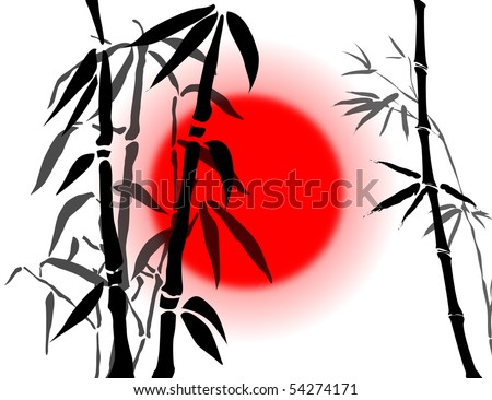 Abstract background with bamboo branches and the red sun