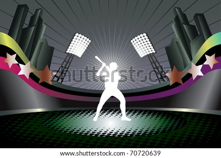Abstract background with baseball stadium and player silhouette. - stock photo
