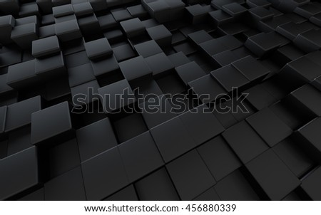 Abstract background with black cubes, 3D illustration.