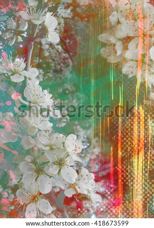 Abstract background with blooming flowers and light rays and glare, grunge printing background, abstract floral , spring theme collage - stock photo