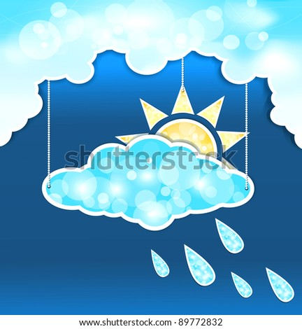 abstract background with blue clouds, sun and rain drops (JPEG version)