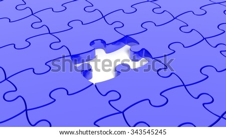Abstract background with blue puzzle pieces one piece missing. - stock photo