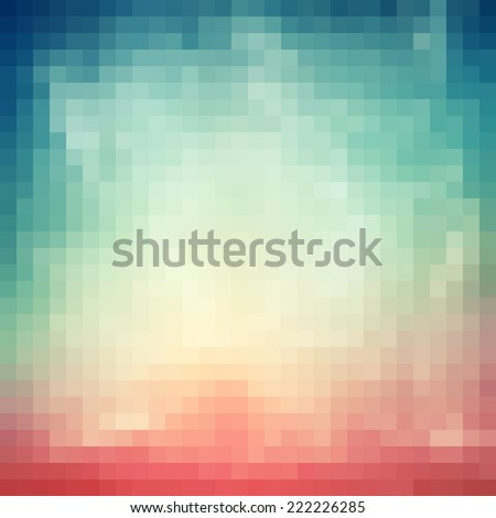 Abstract Background with blue, white and pink  pixels, digital square pattern - stock photo