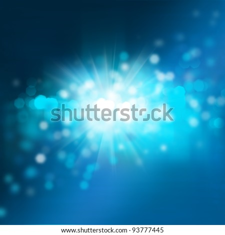 Abstract background with bokeh and glowing star. Night or underwater colors