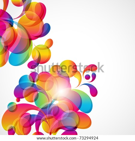 Abstract background with bright circles and teardrop-shaped arches. - stock photo