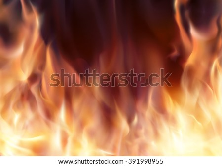 Abstract background with burning fire flames frame and copy-space for text. Fiery banner template - stock photo