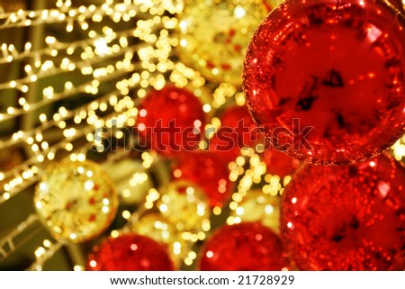 abstract background with Christmas decor balls and lights - stock photo