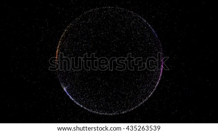 Abstract background with circular shape formed of small particles. - stock photo