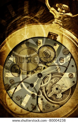 abstract background with clock mechanism - stock photo