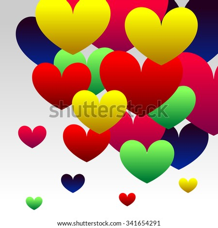 Abstract Background with Colorful Gradient Red, Blue, Green, Pink and Yellow Hearts - stock photo